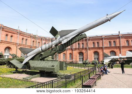 St. Petersburg Russia - 28 May, Anti-aircraft missile on the launcher SM-63, 28 May, 2017. Military History Museum of combat equipment in St. Petersburg.