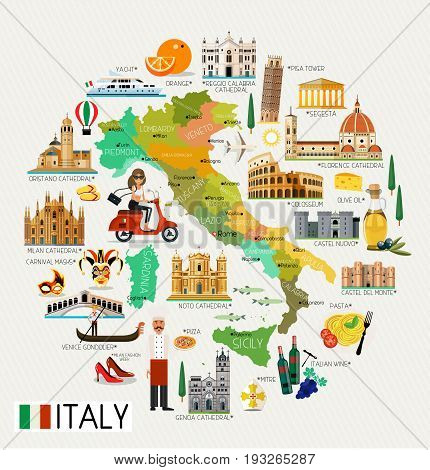 Map of Italy and Travel Icons.Italy Travel Map. Vector Illustration.