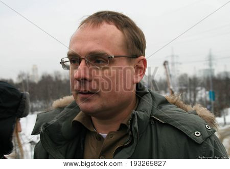 Khimki, Moscow region, Russia - February 3, 2011. Environmentalist Mikhail Matveev told the journalists about how to save the Khimki forest. Defenders of the Khimki forest are guided tours for journalists.