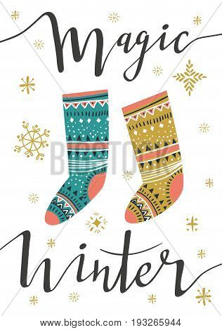 Christmas socks. Template for Greeting Scrap booking, Congratulations, Invitations, greeting card. Vector illustration with isolated christmas poster.
