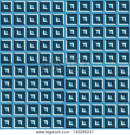 Optical motion illusion seamless pattern of blue squares.