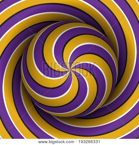 Optical motion illusion background. Sphere with a purple yellow multiple spiral pattern on helix background.