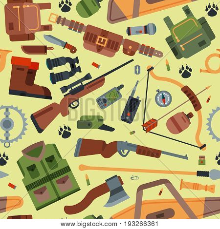 Hunting camping outdoor time vector seamless pattern background with guns.