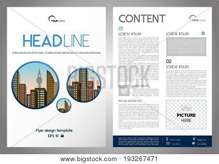 Vector Flyer, Corporate Business, Annual Report, Brochure Design And Cover Presentation With Blue Ci