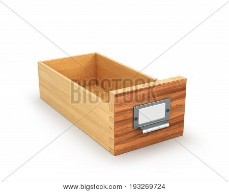 Wooden box for storing archived files isolated on white background. 3d illustration