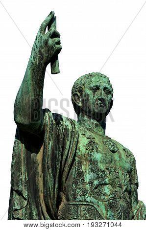 Caesar Augustus Nerva Emperor of Ancient Rome bronze statue in Imperial Forum (isolated on white background)