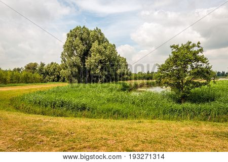 Dutch landscape with a curved dike around a natural pond on a cloudy day in the summer season.