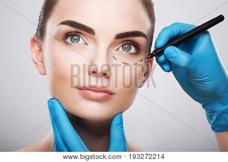 Cute Girl With Perforation Lines On Face