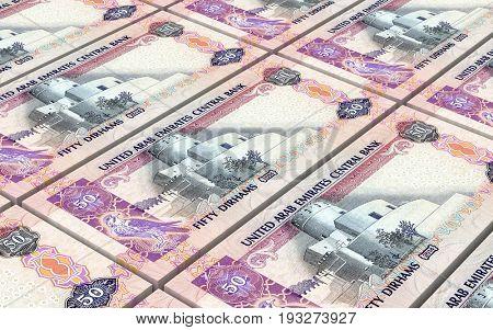 United Arab Emirates dirhams bills stacks background. 3D illustration.
