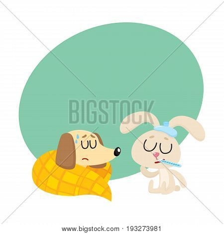 Sick baby dog and rabbit having flu, fever, sleeping, sitting with ice pack and thermometer, cartoon vector illustration with space for text. Sick dog and rabbit having flue, cold, fever