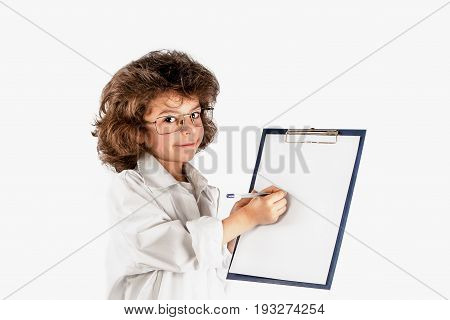 Little cute scientist writing on a sheet of paper. Gray background.