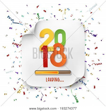 happy new year 2018 loading colorful paper desig background with ribbons and confetti
