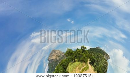 Abstract illustration of a radial / mountain on a background of a bright sky
