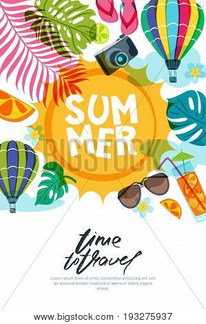 Vector Banner, Poster Or Flyer Design Template With Sun, Palm Leaves And Air Balloons. Summer Beach