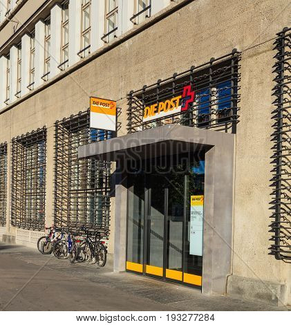 Zurich, Switzerland - 18 June, 2017: one of the entrances to the Sihlpost post office on Kasernenstrasse street. The Sihlpost is the largest post office in Zurich.