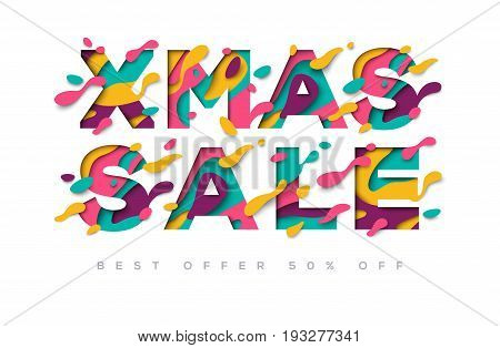 Xmas Sale typography design with abstract paper cut shapes. Vector illustration. Colorful carving art. Merry Christmas poster or greeting card on light background, template for business event