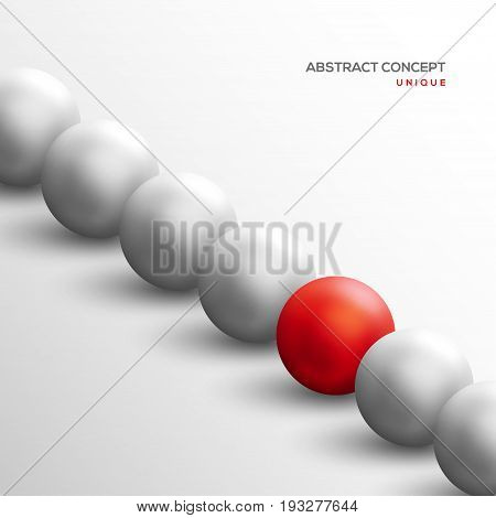 Unique red ball among white ones in diagonal row. Abstract leadership concept. Vector illustration. Business teamwork and success background