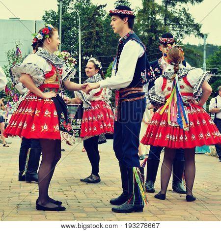Brno, Czech Republic June 25, 2017. Czech Traditional Feast. Tradition Folk Dancing And Entertainmen