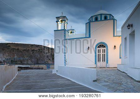 Curch in Firopotamos fishing village on Milos island in Greece.