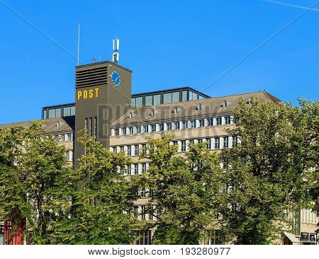 Zurich, Switzerland - 18 June, 2017: the Sihlpost post office building, view from Gessnerallee street. The Sihlpost is the largest post office in Zurich.