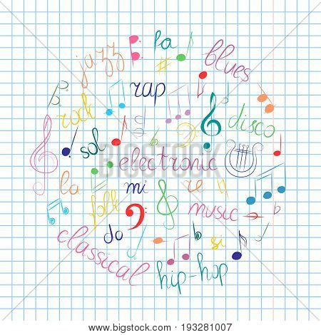 Colorful Hand Drawn Set of Music Symbols. Doodle Treble Clef Bass Clef Notes and Music Styles Arranged in a Circle on Sheet.. Vector Illustration.