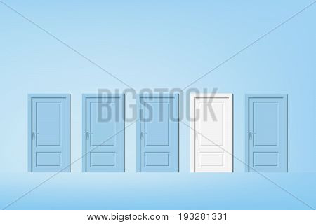 vector alternative door, pastel blue door with one different featured white door