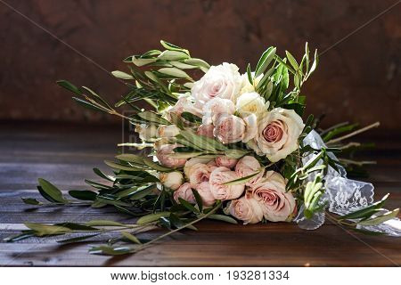 Beautiful summer wedding bouquet. Delicate bright Flowers for the bride. Preparations for the wedding ceremony. Wedding Bridal bouquet