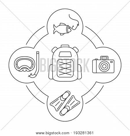 Tourist's backpack contents linear icons set. Summer holidays. Photocamera, flippers, aqualung, fish with hook. Isolated vector illustrations