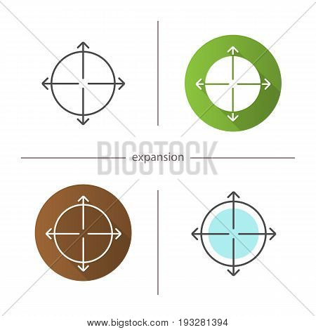 Expansion symbol icon. Flat design, linear and color styles. Expand abstract metaphor. Isolated vector illustrations