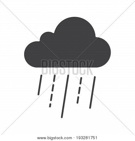Rainy cloud glyph icon. Silhouette symbol. Negative space. Vector isolated illustration