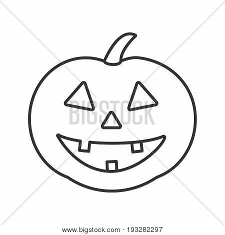 Halloween pumpkin linear icon. Autumn holidays contour symbol. Halloween party decoration thin line illustration. Vector isolated outline drawing