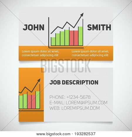 Business card print template with income growth chart logo. Manager. Marketer. Stockbroker. Stationery design concept. Vector illustration