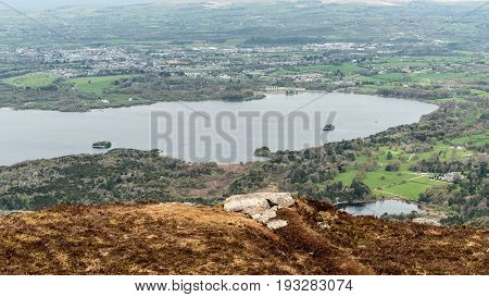 View of Muckross Lake and Lough Leane from Torc Mountain