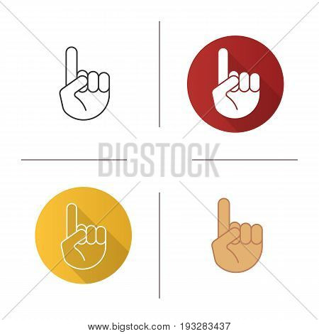 Attention hand gesture icon. Flat design, linear and color styles. Point up. Isolated vector illustrations