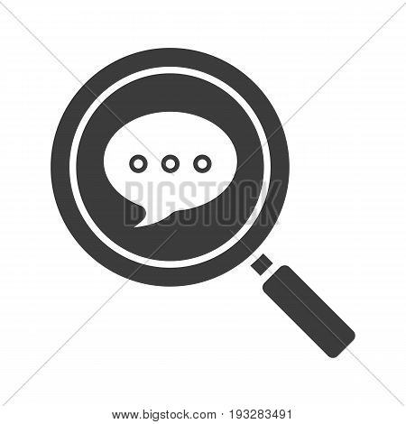 Magnifying glass with chat box glyph icon. Message search. Chatting. Silhouette symbol. Negative space. Vector isolated illustration
