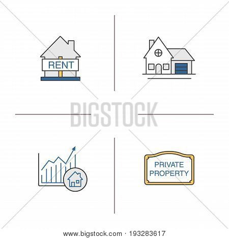 Real estate market color icons set. House for rent, cottage, private property sign, market growth chart. Isolated vector illustrations