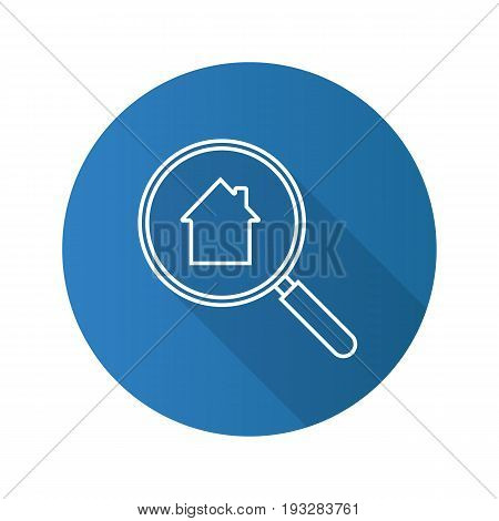 Real estate search flat linear long shadow icon. Looking for apartment. House hunt. Magnifying glass with building inside. Vector outline symbol