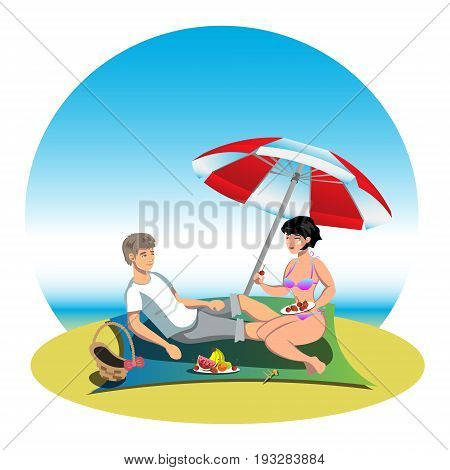 Boy and girl on holiday , vector cartoon illustration, couple on beach, two isolated human