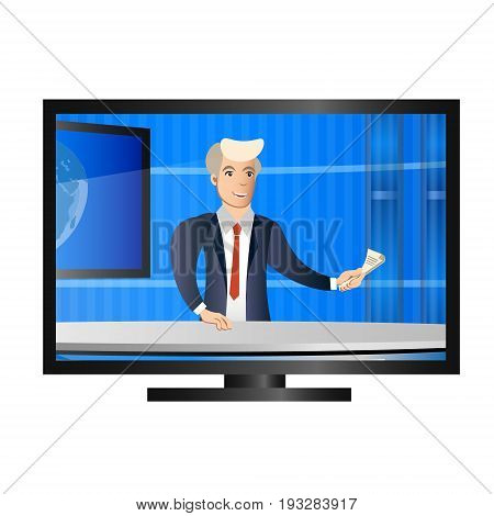 News anchor on TV breaking News. Vector illustration