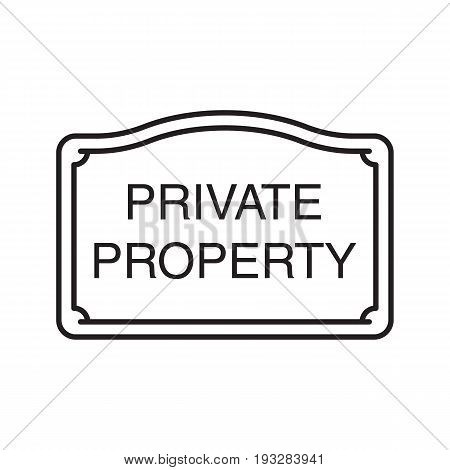 Real property sign linear icon. Thin line illustration. Property ownership contour symbol. Vector isolated outline drawing