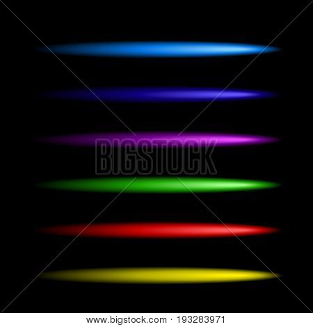 Neon colorful brushes set. Vector design to create neon frames, text, signs, symbols, banners, casino signboards, disco bar signboards etc.