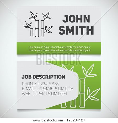 Business card print template with bamboo sticks logo. Manager. Massagist. Masseur. Stationery design concept. Vector illustration
