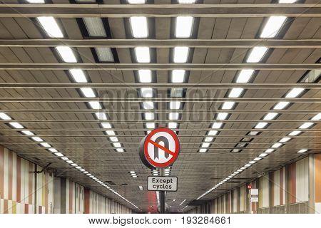 No U-turn Sign On Beech Street Tunnel, London