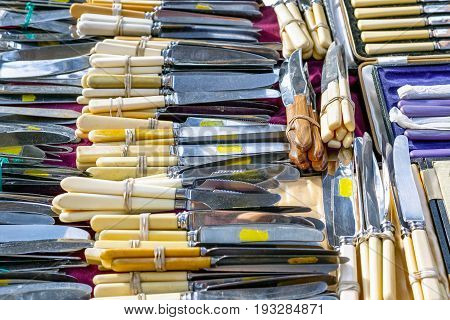 Antique Silver Cutlery On Display At Old Spitalfields Market