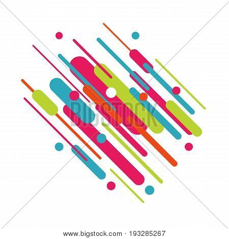 Geometric dynamic background with colorful lines and rounded shapes in a modern material design style. Abstract design for your flyers, cards, banners, brochures, posters, printing etc.
