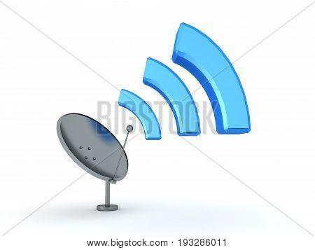 3D Illustration Of Antenna Emitting Wi-fi Signal