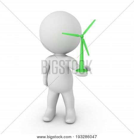 3D Character holding in his hand a miniture green air turbine. Isolated on white.