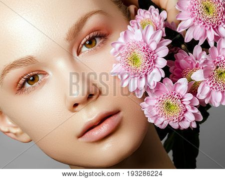 Aesthetic Cosmetology. Spring Woman. Beauty Summer Model Girl With Colorful Flowers . Beautiful Lady