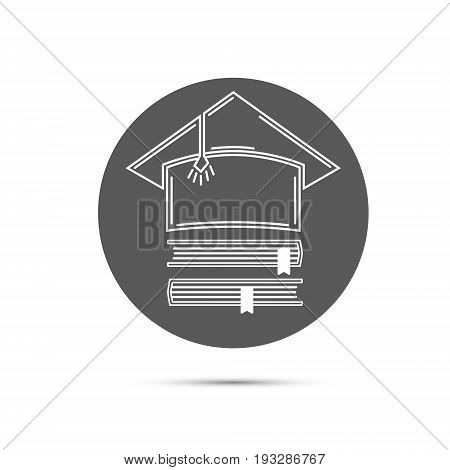Vector stylized icon with the image of Master hats and books.