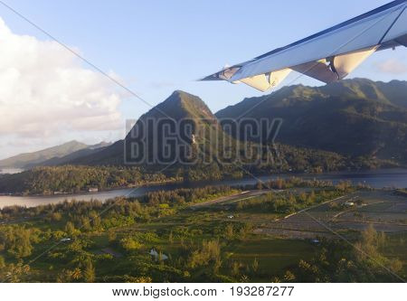 Polynesia. Aerial view. the mountain on the island